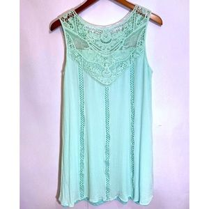 Alter'd State Sea Green Lace Top Shift Dress